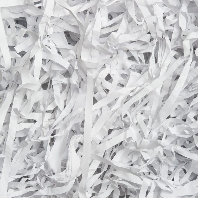 closeup of the shredded document paper