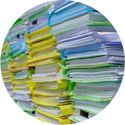 Stacks of Hard Copy Documents to be Scanned and Imaged
